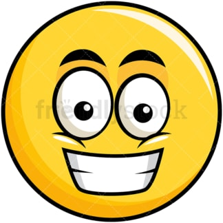 Grinning yellow smiley emoticon. PNG - JPG and vector EPS file formats (infinitely scalable). Image isolated on transparent background.