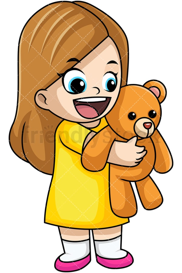 Happy girl holding teddy bear. PNG - JPG and vector EPS file formats (infinitely scalable). Image isolated on transparent background.