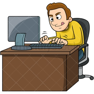 Hustling man typing fast. PNG - JPG and vector EPS file formats (infinitely scalable). Image isolated on transparent background.