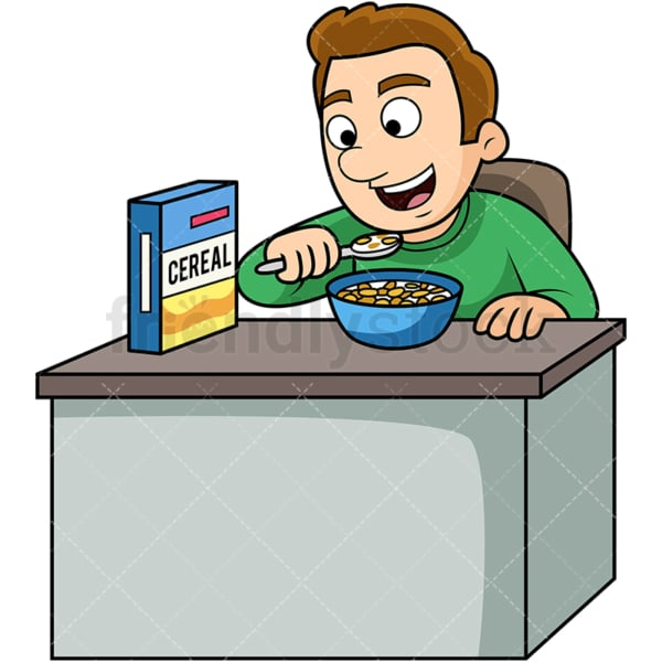 Man enjoying cereal breakfast. PNG - JPG and vector EPS. Image isolated on transparent background.