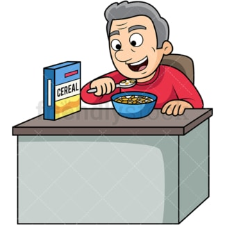 Old man enjoying cereal breakfast. PNG - JPG and vector EPS. Image isolated on transparent background.