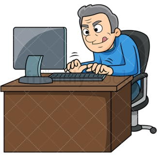 Old man typing fast on computer. PNG - JPG and vector EPS file formats (infinitely scalable). Image isolated on transparent background.