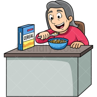 Old woman enjoying cereal breakfast. PNG - JPG and vector EPS. Image isolated on transparent background.