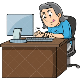 Old woman typing fast. PNG - JPG and vector EPS file formats (infinitely scalable). Image isolated on transparent background.
