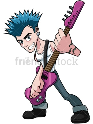 Punk rocker guitar player. PNG - JPG and vector EPS file formats (infinitely scalable). Image isolated on transparent background.