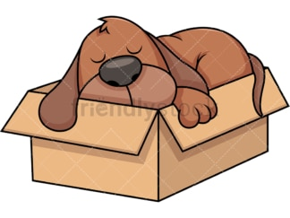 Stray dog napping in box. PNG - JPG and vector EPS file formats (infinitely scalable). Image isolated on transparent background.