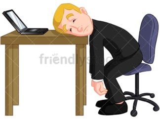 Tired businessman. PNG - JPG and vector EPS (infinitely scalable). Image isolated on transparent background.