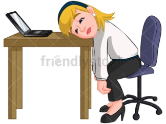 Tired businesswoman. PNG - JPG and vector EPS (infinitely scalable). Image isolated on transparent background.