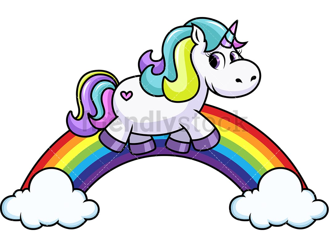 Unicorn Walking On Rainbow Cartoon Vector Clipart