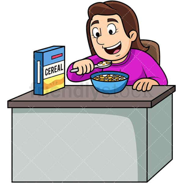 Woman enjoying cereal breakfast. PNG - JPG and vector EPS. Image isolated on transparent background.