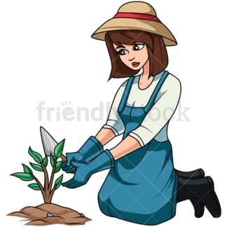 Woman taking care of plant. PNG - JPG and vector EPS file formats (infinitely scalable). Image isolated on transparent background.