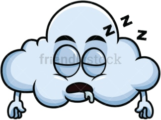 Sleeping cloud emoticon. PNG - JPG and vector EPS file formats (infinitely scalable). Image isolated on transparent background.