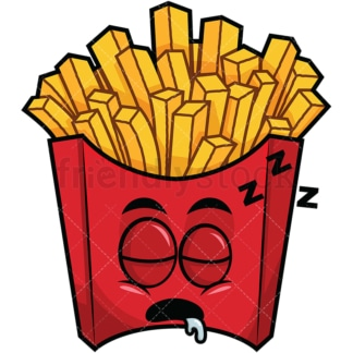Sleeping french fries emoticon. PNG - JPG and vector EPS file formats (infinitely scalable). Image isolated on transparent background.