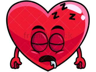 Sleeping heart emoticon. PNG - JPG and vector EPS file formats (infinitely scalable). Image isolated on transparent background.