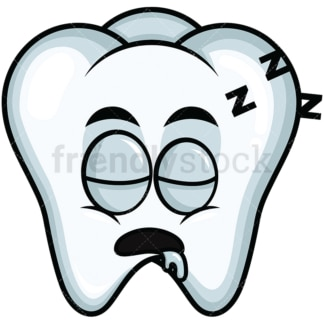 Sleeping tooth emoticon. PNG - JPG and vector EPS file formats (infinitely scalable). Image isolated on transparent background.