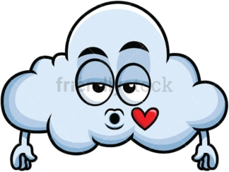 Cloud blowing a kiss emoticon. PNG - JPG and vector EPS file formats (infinitely scalable). Image isolated on transparent background.