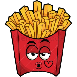 French fries blowing a kiss emoticon. PNG - JPG and vector EPS file formats (infinitely scalable). Image isolated on transparent background.