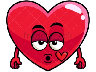 Heart blowing a kiss emoticon. PNG - JPG and vector EPS file formats (infinitely scalable). Image isolated on transparent background.