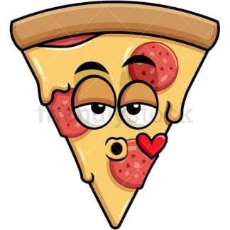 Pizza blowing a kiss emoticon. PNG - JPG and vector EPS file formats (infinitely scalable). Image isolated on transparent background.
