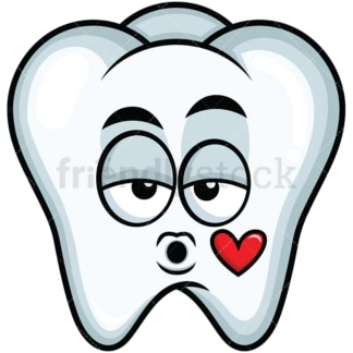 Tooth blowing a kiss emoticon. PNG - JPG and vector EPS file formats (infinitely scalable). Image isolated on transparent background.