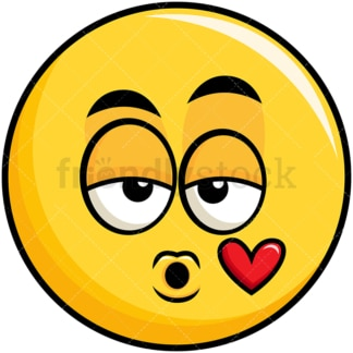 Yellow smiley blowing a kiss emoticon. PNG - JPG and vector EPS file formats (infinitely scalable). Image isolated on transparent background.