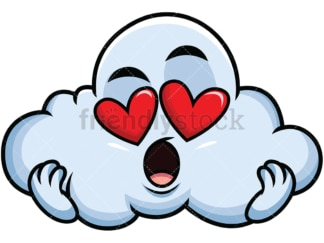 In love cloud emoticon. PNG - JPG and vector EPS file formats (infinitely scalable). Image isolated on transparent background.