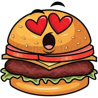 In love hamburger emoticon. PNG - JPG and vector EPS file formats (infinitely scalable). Image isolated on transparent background.