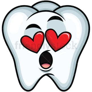 In love tooth emoticon. PNG - JPG and vector EPS file formats (infinitely scalable). Image isolated on transparent background.