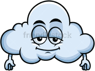 Sleepy cloud emoticon. PNG - JPG and vector EPS file formats (infinitely scalable). Image isolated on transparent background.