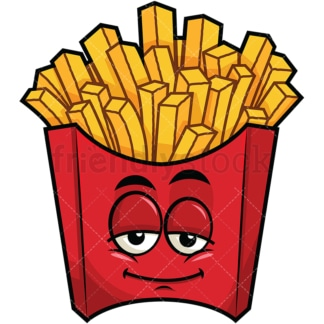 Sleepy french fries emoticon. PNG - JPG and vector EPS file formats (infinitely scalable). Image isolated on transparent background.
