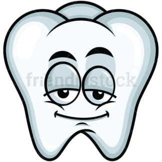Sleepy tooth emoticon. PNG - JPG and vector EPS file formats (infinitely scalable). Image isolated on transparent background.
