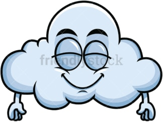 Delighted cloud emoticon. PNG - JPG and vector EPS file formats (infinitely scalable). Image isolated on transparent background.