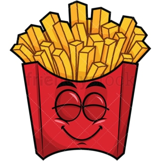 Delighted french fries emoticon. PNG - JPG and vector EPS file formats (infinitely scalable). Image isolated on transparent background.