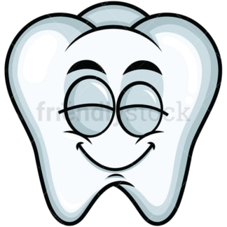 Delighted tooth emoticon. PNG - JPG and vector EPS file formats (infinitely scalable). Image isolated on transparent background.