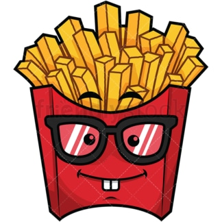 Nerdy french fries emoticon. PNG - JPG and vector EPS file formats (infinitely scalable). Image isolated on transparent background.