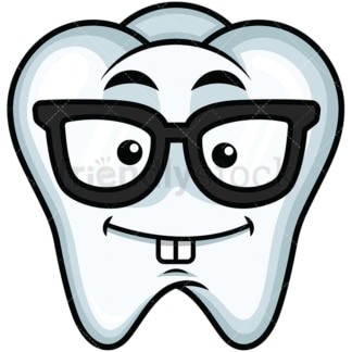 Nerdy tooth emoticon. PNG - JPG and vector EPS file formats (infinitely scalable). Image isolated on transparent background.