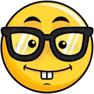 Nerdy yellow smiley emoticon. PNG - JPG and vector EPS file formats (infinitely scalable). Image isolated on transparent background.