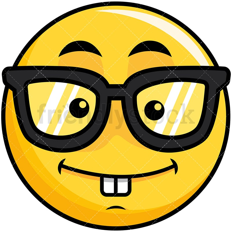emoji smiley clipart cartoon yellow vector friendlystock nerdy geeky smile glasses toothy clip face emoticon beaten drawing pdf wearing simple