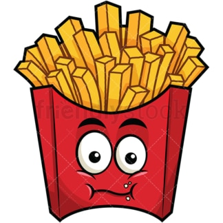 Chewing french fries emoticon. PNG - JPG and vector EPS file formats (infinitely scalable). Image isolated on transparent background.