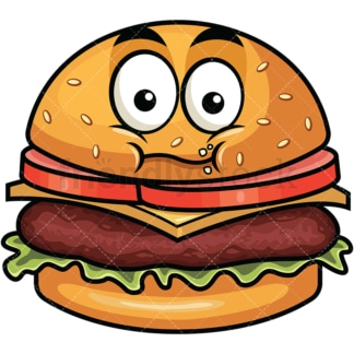 Chewing hamburger emoticon. PNG - JPG and vector EPS file formats (infinitely scalable). Image isolated on transparent background.