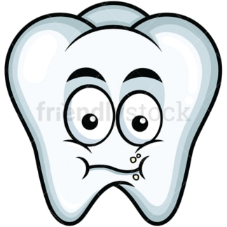 Chewing tooth emoticon. PNG - JPG and vector EPS file formats (infinitely scalable). Image isolated on transparent background.