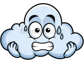 Sweating cloud emoticon. PNG - JPG and vector EPS file formats (infinitely scalable). Image isolated on transparent background.