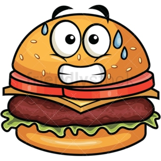 Sweating hamburger emoticon. PNG - JPG and vector EPS file formats (infinitely scalable). Image isolated on transparent background.