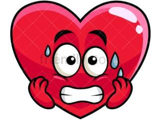 Sweating heart emoticon. PNG - JPG and vector EPS file formats (infinitely scalable). Image isolated on transparent background.