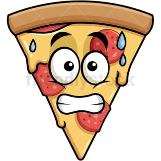 Sweating pizza emoticon. PNG - JPG and vector EPS file formats (infinitely scalable). Image isolated on transparent background.