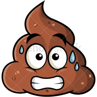 Sweating poop emoticon. PNG - JPG and vector EPS file formats (infinitely scalable). Image isolated on transparent background.