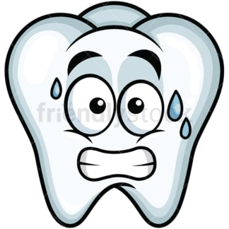 Sweating tooth emoticon. PNG - JPG and vector EPS file formats (infinitely scalable). Image isolated on transparent background.