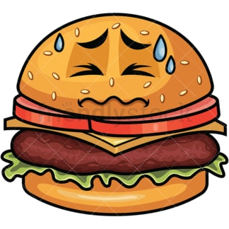 In Pain Hamburger Emoticon. PNG - JPG and vector EPS file formats (infinitely scalable). Image isolated on transparent background.