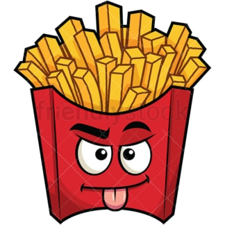 Sarcastic french fries emoticon. PNG - JPG and vector EPS file formats (infinitely scalable). Image isolated on transparent background.