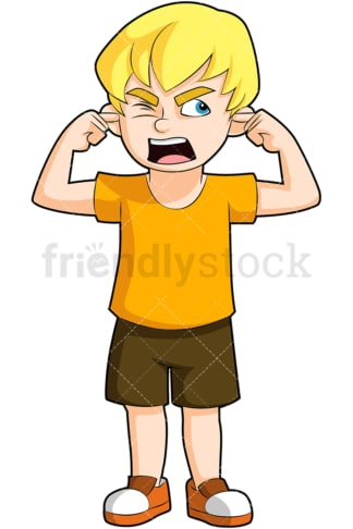 Angry boy covering ears yelling. PNG - JPG and vector EPS (infinitely scalable). Image isolated on transparent background.